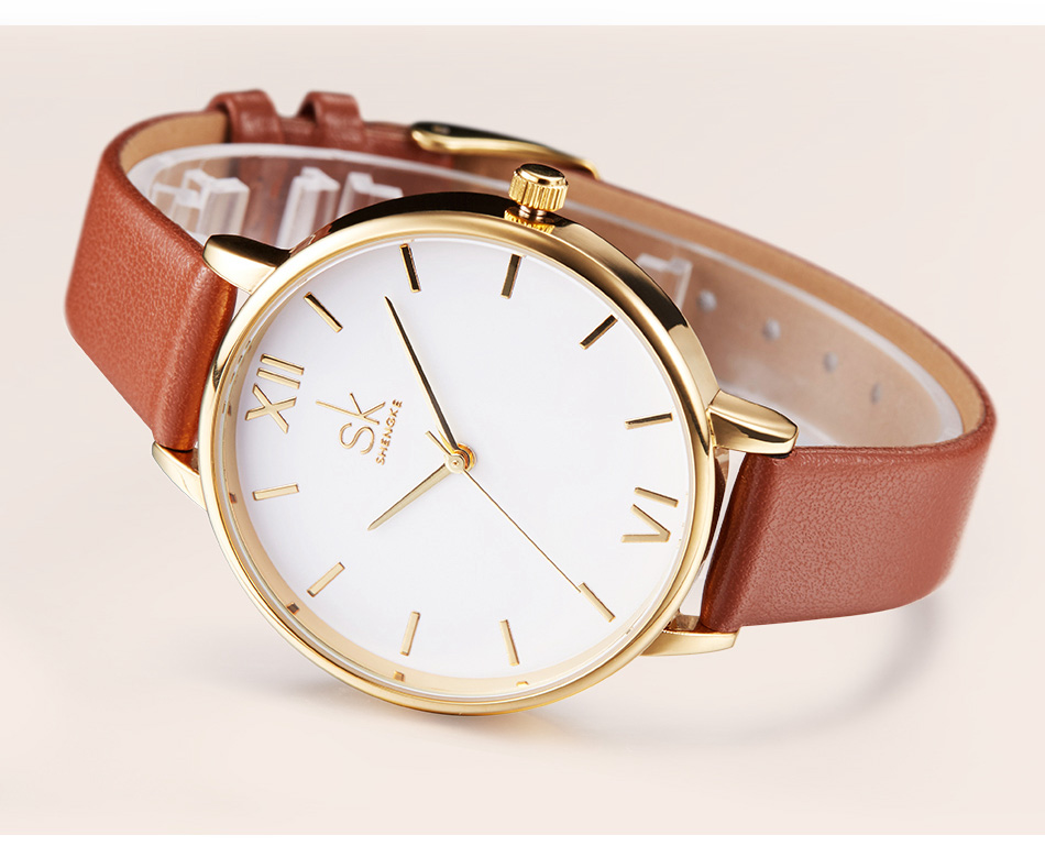 relógio pulseira couro à prova dwaterproof água