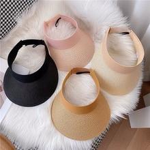 Hot Sale Summer Paper Straw Hats Female Beach Holiday Wide Brim Caps For Women Visera Mujer Sun Visor Hat Adjustable Big Heads