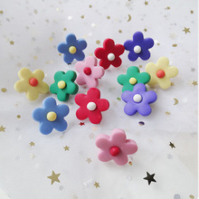 Hello Miss Contrast Soft Ceramic Flower Fashion Earrings Child Candy Color Stud Geometric Womens