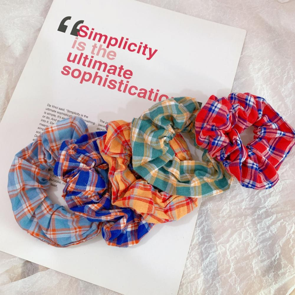 Fashion Lattice Elastic Scrunchie Hair Rope Handmade Ponytail Holder Hair Bands For Women Fashion Headwear HairAccessories