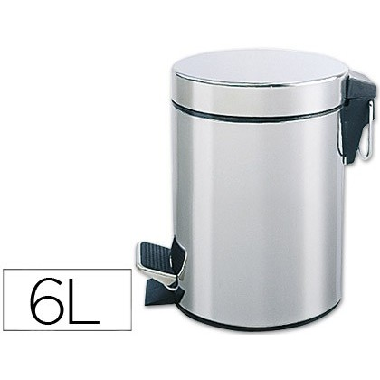 BIN METALICA Q-CONNECT WITH PEDAL CHROME 32X21 CM CAPACITY 6 LITER