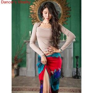 Image 2 - בטן ריקוד ללבוש Slim Fit נשים סתיו חדש 3 צבע למעלה מודאלי ארוך חצאית מזרחי הודי ריקוד תרגול קבוצתי אימון בגדים