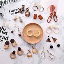 Korea Caramel Leopard Resin Acrylic Acetic Acid Geometric Round Square Dangle Earrings pendientes For Women Party Jewelry