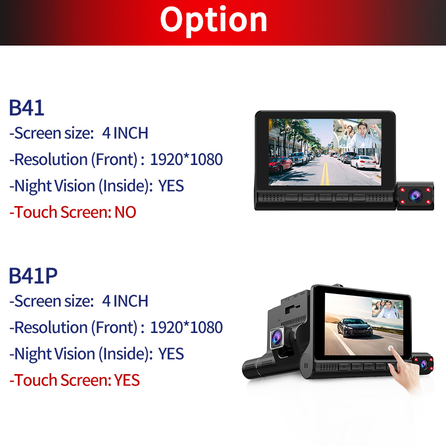 ACCEO Car DVR 3 Cameras Lens 4.0 Inch Dash Camera Dual Lens With Rearview Camera Video Recorder Auto Registrator Dvrs Dash Cam 5