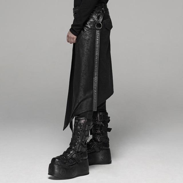 PUNK RAVE Men's Punk Men's Half Skirt Dark Cracked Metal Nail Removable Pocket Personality Long Skirts 2