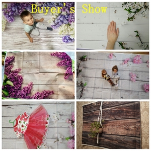 Image 3 - Laeacco Vinyl Backdrops For Photography Christmas Wood Board Flower Petal Party Doll Baby Portrait Photo Background Photo Studio