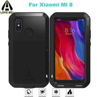 Mi 8 Metal Shockproof Case Gorilla Glass for Xiaomi Mi 8 LOVE MEI Life Waterproof Full Protectve Case for Xiomi Mi8 phone cover
