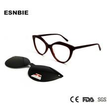 Cat-Eye-Glasses Gafas Clip On Myopia-Eyewear Acetate Womens Ladies with Magnet Polarized