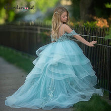 Puffy Flower Girl Dresses Off The Shoulder Princess Dress Tulle Puffy Firs Communion Dress Cute Kids Dress