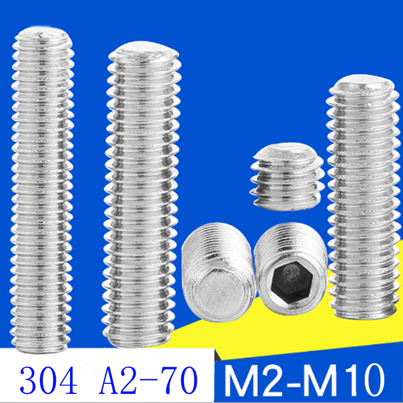 20pc DIN913  M3 M4 M5 6 8 10 16 20mm 304 Stainless Steel A2 Metric Thread Grub Flat end Point Hexagon Socket Headless Set Screw