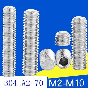 цена на 20pc DIN913  M3 M4 M5 6 8 10 16 20mm 304 Stainless Steel A2 Metric Thread Grub Flat end Point Hexagon Socket Headless Set Screw