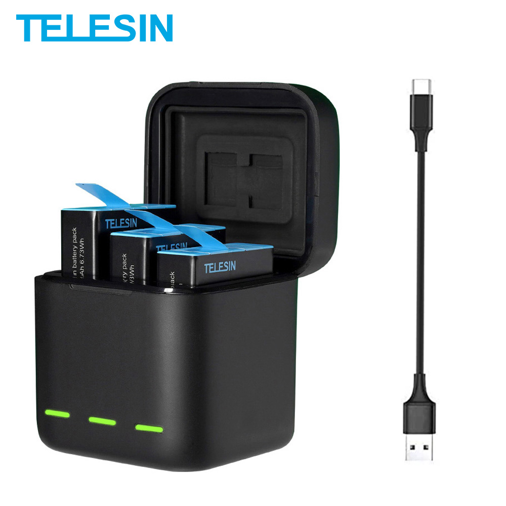 GoPro 9 10 Battery 1750mAh LED Light Charging Box TF Card Storage For GoPro Hero 9 10 Battery Charger Accessories 1