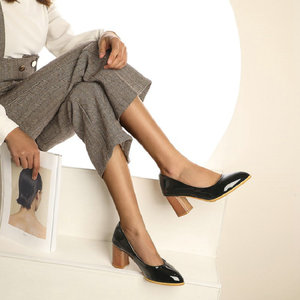 Image 3 - Sianie Tianie patent PU deri düz renk sarı orange bayan ayakkabıları blok bayanlar pompaları sapato feminino düğün ayakkabı boyutu 46