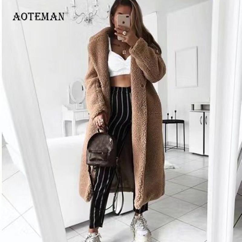 Autumn Winter Coat Women 2019 Casual Loose Solid Long Teddy Coat Female Vintage Plus Size Thick Faux Fur Jackets Coats White 5XL