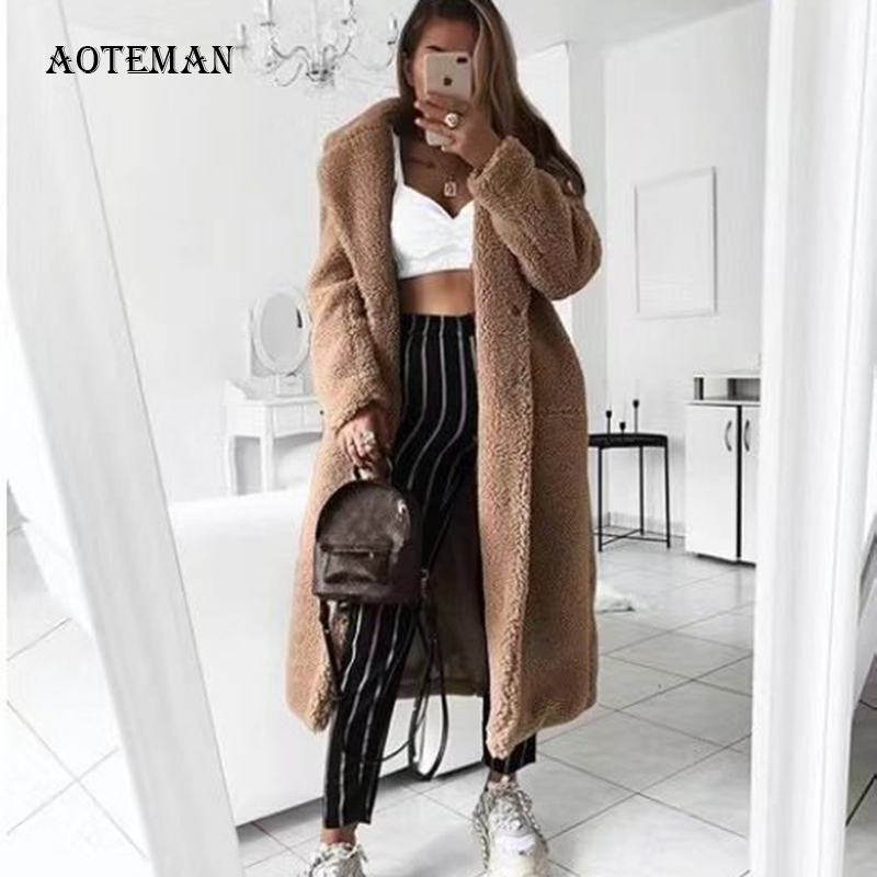 Autumn Winter Coat Women 2020 Casual Loose Solid Long Teddy Coat Female Vintage Plus Size Thick Faux Fur Jackets Coats White 5XL