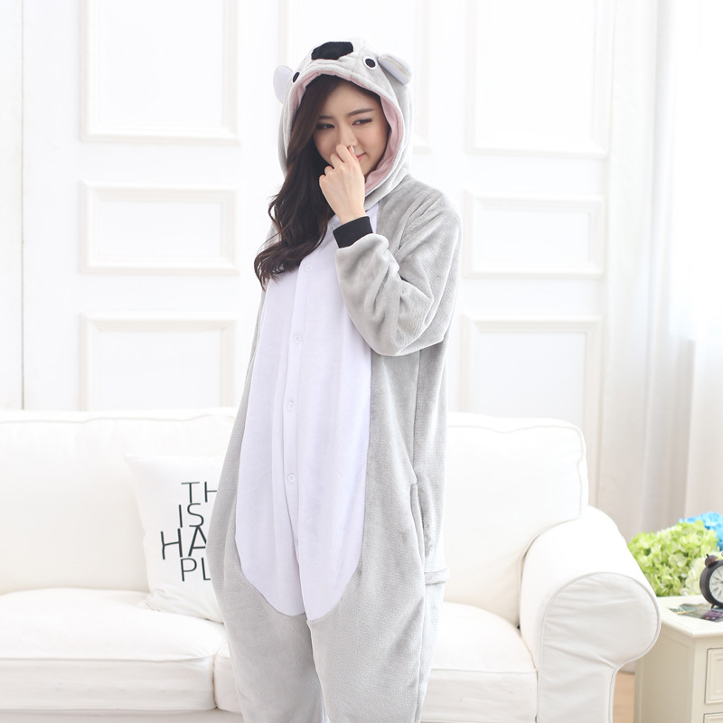 Animal Koala Sleepwear Gray Cute Pajama Adult Women Girl Kigurumis Winter Warm Soft Flannel Onesie Festival Party Outfit Overall
