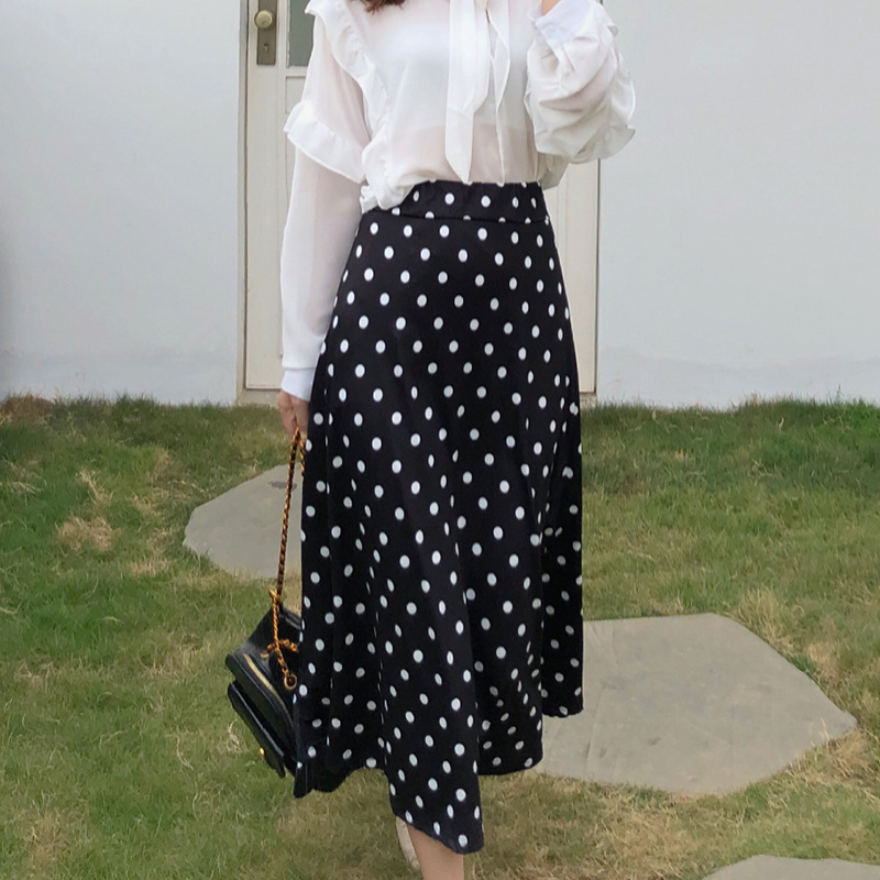 Photo Shoot ~ Amount Of Running-New Style Thin French Polka Dot Skirt Spring And Summer High-waisted Sheath Super Fire Mid-lengt