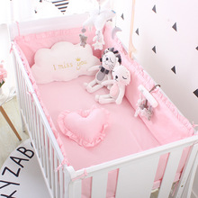 5pcs Set Baby Sweet Pink Dot Cot Bumpers Bed Sheet Bed Surrounding Cotton Craddle Bedding Baby Bedroom Supplies