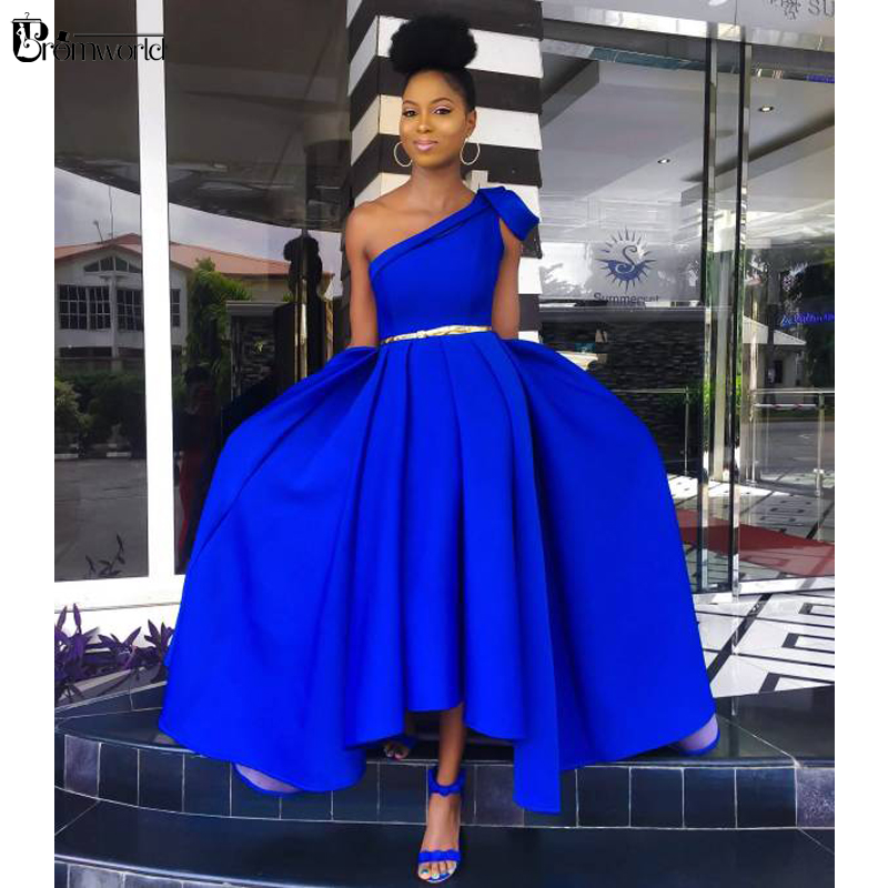 Royal Blue A-Line Tea Length Evening Dresses Woman Party Night Gold Belt Satin Prom Dress One Shoulder Simple Evening Gown 2021