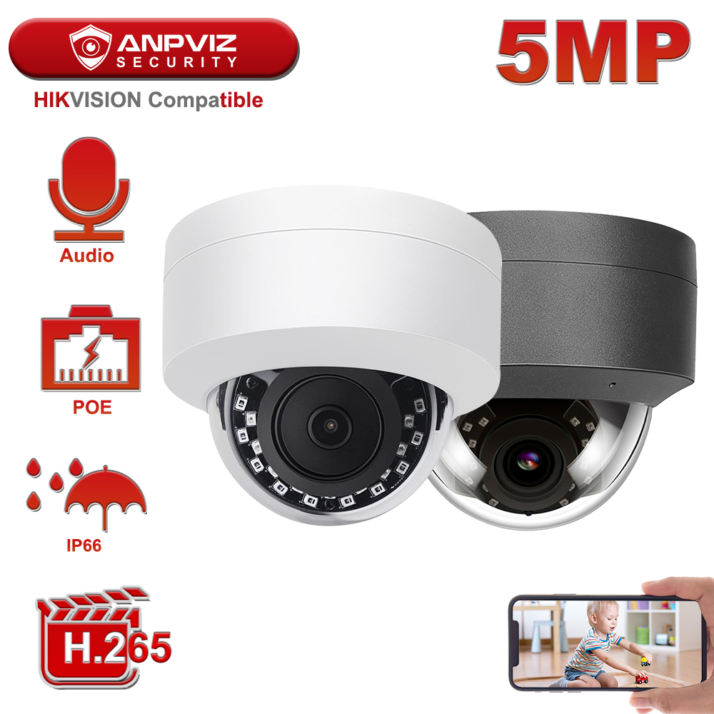 Hikvision Compatible Anpviz 5MP POE IP Camera H 265 Microphone Audio Security Camera Outdoor POE IP Camera IP66 ONVIF 30M IR
