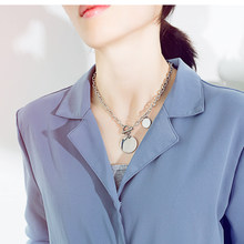 n1593 2020 New fashion stainless steel girls lady Women necklace Medals tag Charms pendant necklace chain 18'' nice gifts(China)