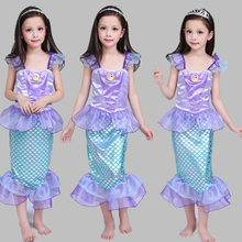 Christmas Carnival Party Cosplay Costumes Halloween Little Mermaid Princess Clothes Fancy Kid Girls Dresses