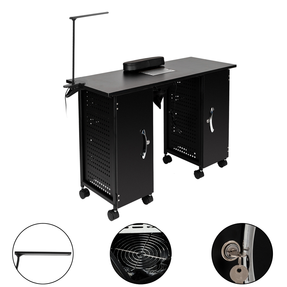 【US Warehouse】Iron Manicure Station Large Table With LED Lamp & Arm Rest Salon Spa Nail Equipment Black  Drop Shipping USA