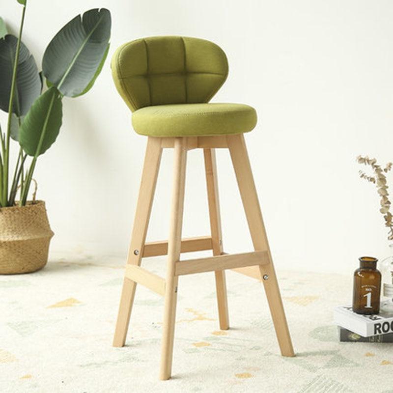 Solid Wood 73 Cm Creative High Stool Tabouret De Bar Simple Fresh Cloth Oil Wax Coffee Chair Bar Chair