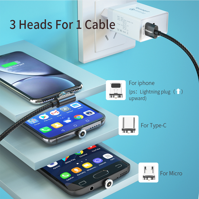 Essager Magnetic Cable Micro USB Type C Charging Cable For Samsung iPhone 7 6 Charger Fast Magnet cable USB C Cord Wires Adapter 5