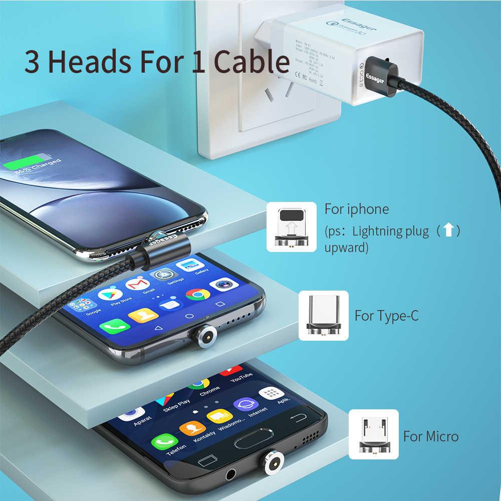 Essager kabel magnetyczny Micro rodzaj USB C kabel ładowania do samsunga iPhone 7 6 ładowarka szybki kabel magnetyczny kabel USB C przewód Adapter