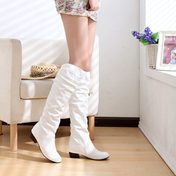 Women Boots Fashion Spring PU Leather Boots Botas Female Stretch Shoes Woman Black White Roma Knee-Length Shoes Femme knee high boots pu leather rivet lace up sexy lady high boots shoes woman ponited female classic vintage botas riding motorcycle
