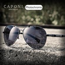 Caponiパイロット 2020 サングラスフォトクロミックガラスuvカット男性のサングラス駆動偏光レンズための日よけ男性BS9812