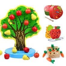 Игрушки Монтессори яблоко Магнитные деревянные игрушки познавательные