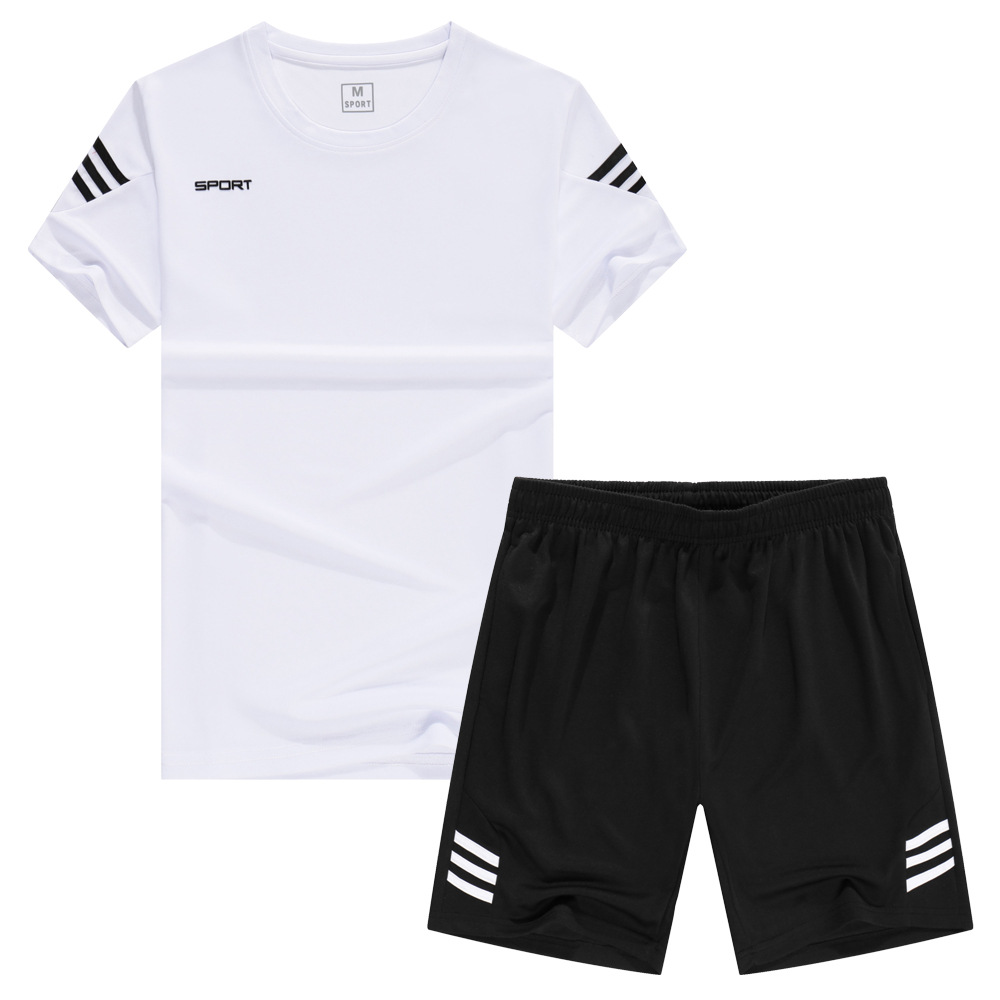 Sports Set Men's Summer Casual Two-Piece Set Short Sleeve Shorts Fitness Running Quick Drying Clothes Ball Uniform Training Suit