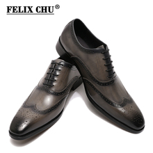 Size 8-15 Handmade Mens Wingtip Oxford Shoes Grey Genuine Leather Brogue Men's Dress Shoes Gray Business Formal Shoes for Men