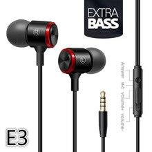 Auricular con cable E3 para auriculares estéreo, auriculares de Bajo mm 3,5 para ordenador con cable, auriculares con micrófono de Metal para teléfono