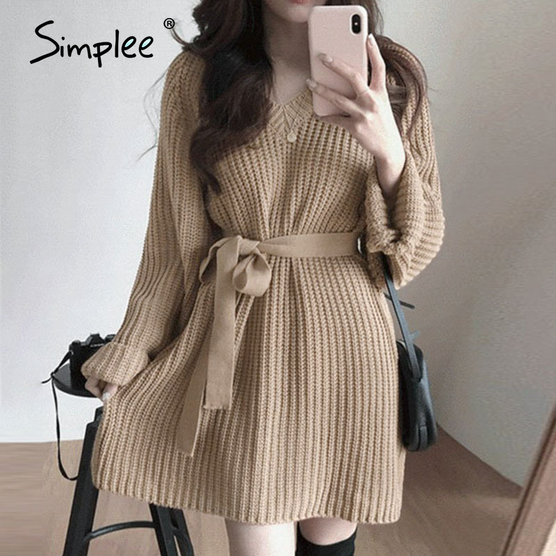 Simplee Casual v-ncck women knitted dress Autumn winter long sleeve lace up mini dress Solid color straight female sweater dress