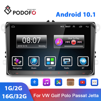 Podofo 9'' Android 10.1 Car Multimedia Player GPS WIFI Audio Radio For VW Passat Golf MK5 MK6 Jetta T5 EOS POLO Touran Seat image