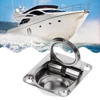 42x36mm pokład pokrywa uchwyt pokład łodzi klapa szuflada szafki uchwyt do podnoszenia kołatka do montażu podtynkowego akcesoria do łodzi morskich tanie i dobre opinie perfeclan Marine Grade Stainless Steel 42 x 36mm Boat Deck Hatch Ring Pull Boat Accessories Marine 43 x 36mm 1 7 x 1 4 inches