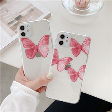Cute Pink Butterfly Transparent Phone Case For iPhone 11 Pro Max XR X XS Max 7 8 6S Plus Case Soft TPU Phone Back Cover Capa for iphone 11 pro max cute pink minnie case for iphone 7 6 6s 8 plus xs max xr x silicone soft phone cover cases back capa coque