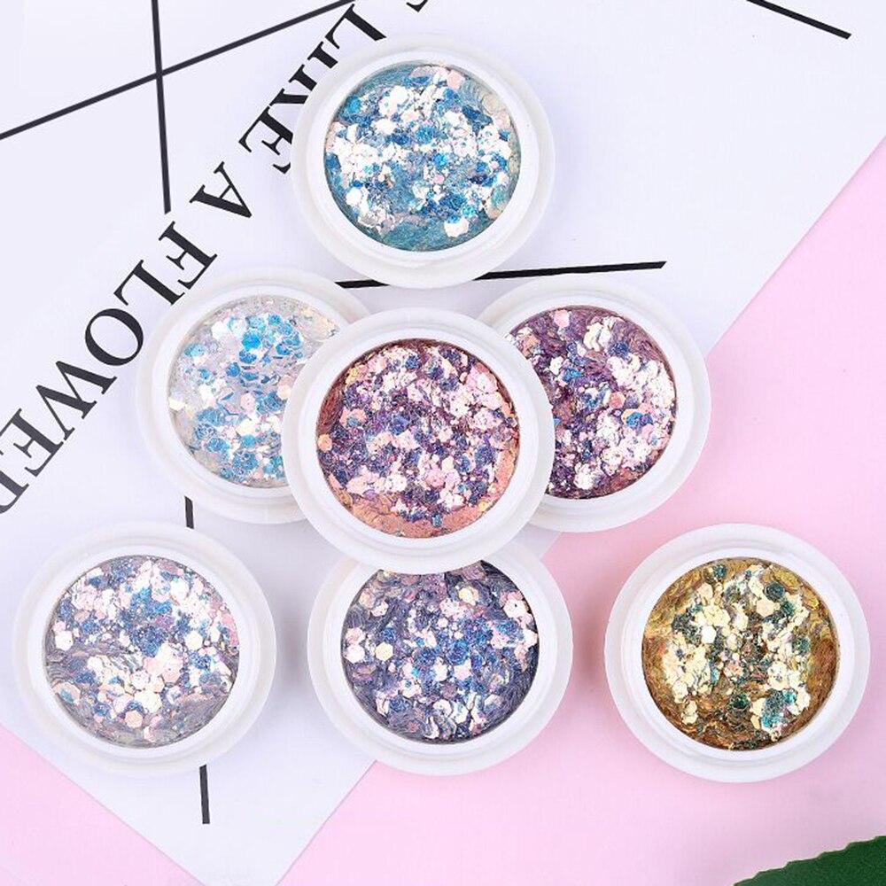 Mischen Glitter Pailletten Laser Gradienten Glänzenden Farbe Pulver Nail art Schmuck Zubehör UV Nail art pailletten