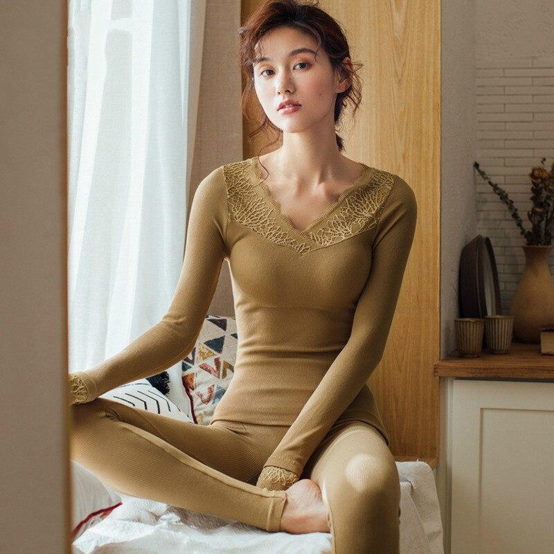New Sexy V-neck Lace Body Long Johns Pyjamas Female Slim Thin Thermal Underwear Set Autumn Winter Warm Pajamas Sleepwear Suit