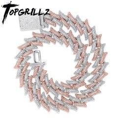 TOPGRILLZ 16 мм, большая застежка, кубинская цепь, тяжелое ожерелье, кубический циркон, шикарный хип-хоп, для Мужчин, Ювелирные изделия