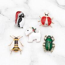 цена на Zhijia Christmas Hat Santa Merry Christmas Snowflake Penguin Deer Christmas Gifts Snowman Ladybug Bow Cat Dog Pins Brooches