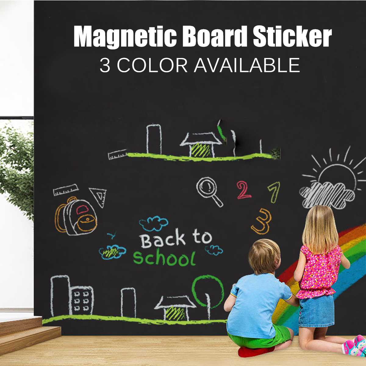 45x100cm Magnetic Blackboard Wall Stickers Children Chalk Drawing Note Board Office Whiteboard Green Self-adhesive Removable