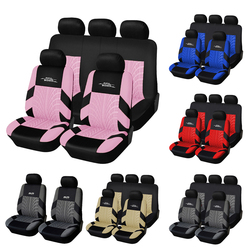 AUTOYOUTH Full Car Seat Covers Set Universal Polyester Fabric Auto Protect Covers Car Seat Protector Pink for Women Girls