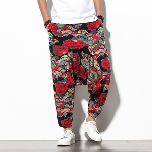 Men Harem Pants Drop Crotch Pockets Joggers Printed Casual Trousers Men Loose Hip hop Baggy Korean Cotton Men Wide Leg Pants