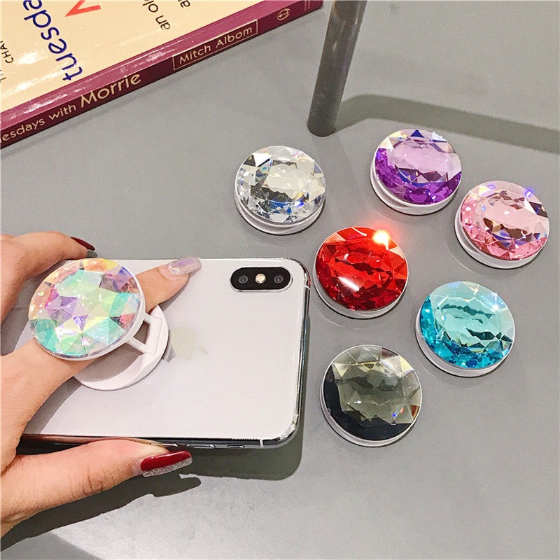 Crystal Shape Expanding Phone Stand Grip Finger Rring Support Anti-Fall Round Foldable Mobile Phone Holder For IPhone Samsung