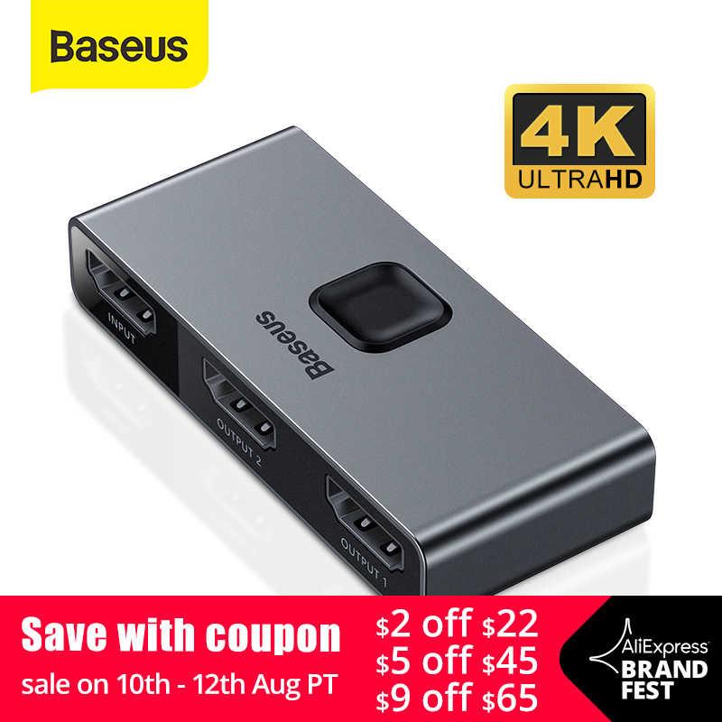 Baseus HDMI ספליטר 4K 60Hz דו כיוון HDMI מתג 1x 2/2x1 HDR HDMI אודיו מתאם עבור PS4 טלוויזיה תיבת HDMI Switcher