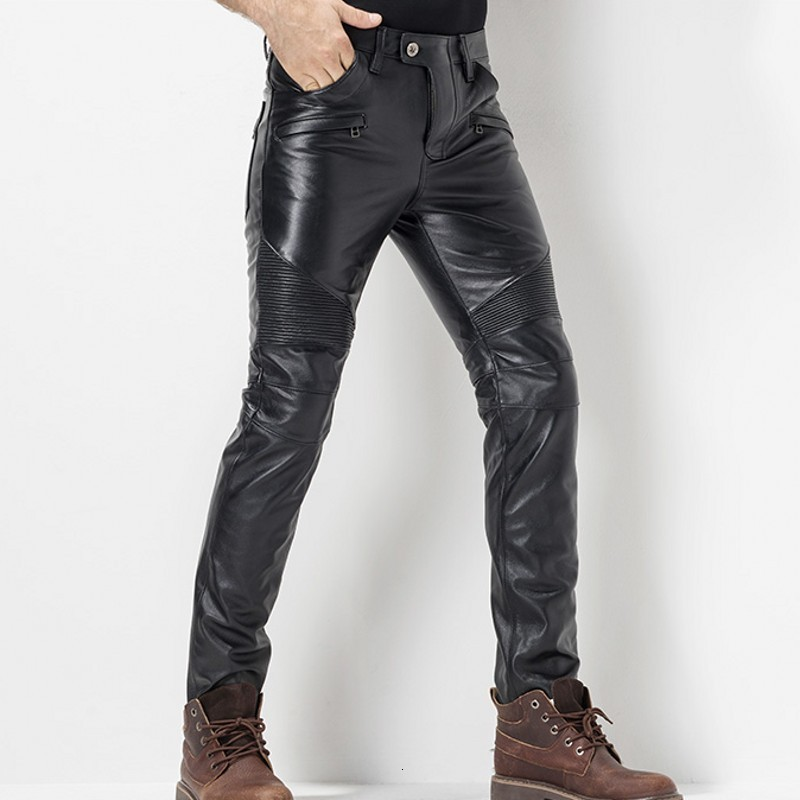 European Autumn Winter Shorts Men's Long Leather Pants Wind Blown Thick Motorcycle Fold Leather Real Men's Pencil Pants